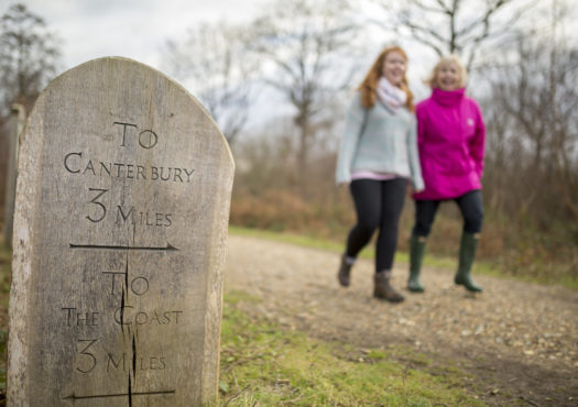 Two women walking on a public footpath
