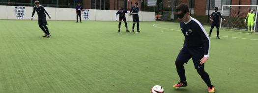 A blind football match.