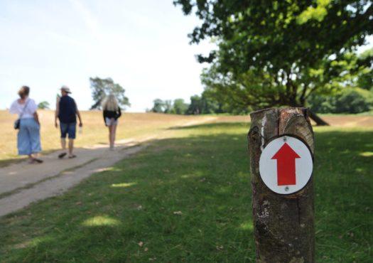 Family walking on public footpath