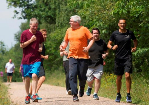 Running group with male lead