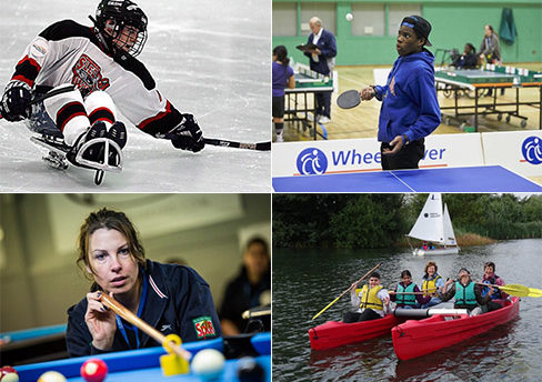 Collage of eight images of people taking part in different disability sports.