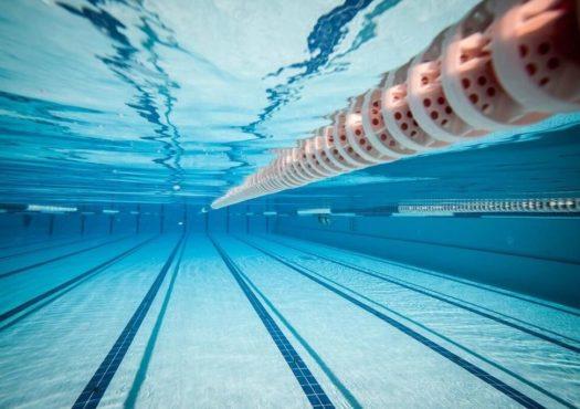 Swimming pool photo taken underwater