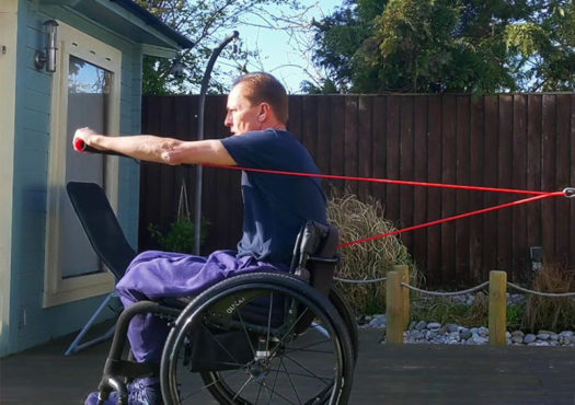 Resistance band wheelchair exercises